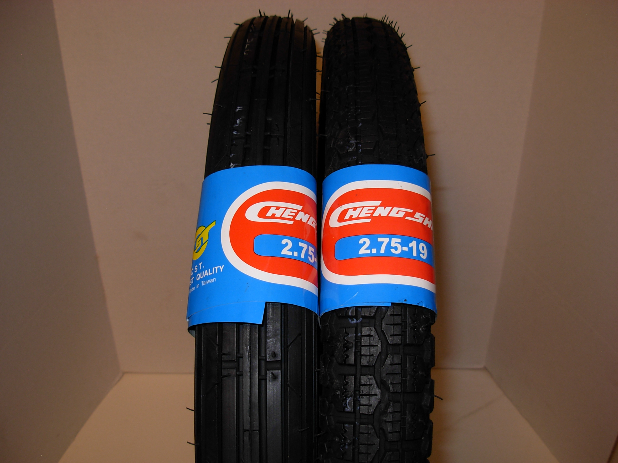 New 2.75 – 19  2.75 x 19 Cheng Shin tires pair Pirelli pattern  motorcycle tires ribbed front block rear sold as a set